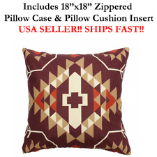 "18x18 18"" Ethnic Cultural AZTEC Mexico Indigenous Zipper Throw Pillow Cushion"