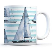 Sailing Boat Pattern - Drinks Mug Cup Kitchen Birthday Office Fun Gift #12441