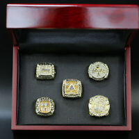 Los Angeles Lakers 5 Championship Replica Ring Set w/Wooden Display Box Size 11