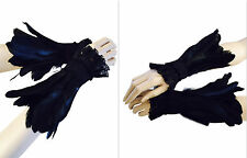 Goth Jet black feather cuff gauntlet wristbands burlesque costume cosplay drag