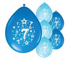 "10 X 7th BIRTHDAY BOY BALLOONS ""7 TODAY"" BIRTHDAY BALLOONS MIX BLUE (PA)"