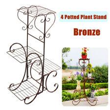4 Tier Metal Plant Flower Pot Stand Display Shelf Home Garden Indoor Outdoor US