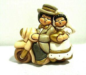 "Thun Wedding Singing Bride Groom On Motorcycle Ceramic Figurine Gold Heart 2.5"""