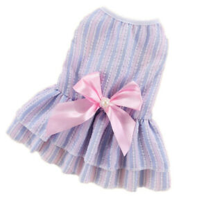 Girl Dog Skirt Cat Puppy Clothes Dress Bow Shirt for Yorkshire Terrier Schnauzer