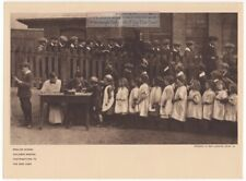 Wwi English Children Line Up To Give Money Original 1919 Photogravure Print