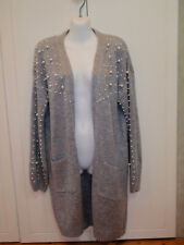 New! Grey MIRACLE Size M/L 14/16 Knit CARDIGAN Long Jacket Pearls Ex Cond