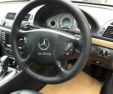 BLACK PERFORATED LEATHER STEERING WHEEL COVER FOR MERCEDES E CLASS W211 02-09