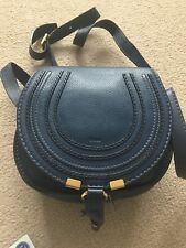 Chloe Mini Marcie Leather Saddlebag - Navy - used