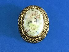 vintage gold tone? brooch / pin cameo picture flower porcelain? painting