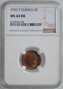 "Guinea-Bissau 5 centavos 1933, NGC MS64 RB, ""Portuguese Colony (1933 - 1974)"""