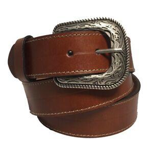Men's Tan Western Style Belt w/Silver-Toned Buckle w/Embossed Buckle Design-1948