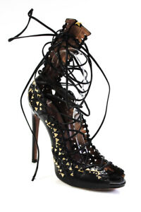 Alaia Womens Leather Gold Tone Studded Gladiator Heel Sandals Black Size 37 7