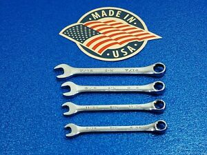 "4 VINTAGE SK USA SAE COMBINATION WRENCHES 5/16"" TO 7/16"" SHIPS FREE TOOL LOT"