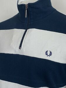 Fred Perry   Vintage Half Zip Stripe Pullover XL XXL (White) Mod 90s Casuals
