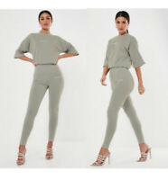 NWT missguided khaki olive green grey logo high waisted leggings gray sz 6