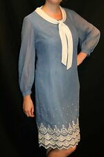 M~L Vtg 60s DOMINO Shift Blue Chambray Sheer Voile Lined Embroidered Tie Dress