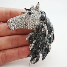 Vintage Style Horse Horsehead Black Rhinestone Crystal Art Deco Brooch Pin