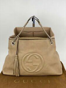 Gucci Soho Large Pebbled Tan Leather Double Chain Tassel Tote Insert HandbagB410