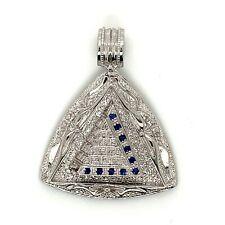 925 Sterling Silver High Polish Mens Sapphire Pyramid Pendant Charm 22.3 Grams