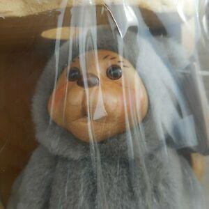Vtg Robert Raikes Signed Wooden Face Baby Bear Alison 38521 w/ Cradle