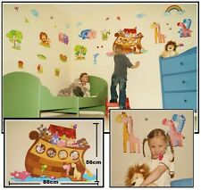 Childrens Kids Boys Girls Bedroom NOAH'S NOAHS ARK JUNGLE ANIMALS Wall Stickers