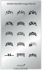 SQ02  Konad New Square Stamping Nail Art Image Plate Design template USA SELLER