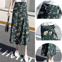 Womens Summer Casual Boho Beach Chiffon Skirt High Waist Long Florals Wrap NTH