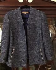 Nipon Boutique Tweed Boucle Textured Jacket Blazer, Blue w/Silvery Threads, 14