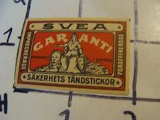 Vintage matchbook label: SVEA GARANTI SAKERHETS TANDSTICKOR