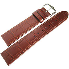 18mm Hirsch Louisiana Gold Brown Tan Alligator-Grain Leather Watch Band Strap