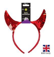 RED DEVIL HORNS SEQUIN HEADBAND Halloween Ladies Girls Fancy Dress Accessory UK