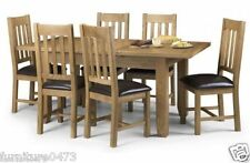 Solid Oak Extending Dining Table W140 + 40cm & 6 Dining Chairs TORI
