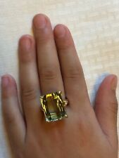 Huge Gorgeous Brilliant Fancy Gift~14K Gold VS 20ct Green Beryl Ring~Free SZ~SHP