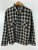 THE FLAT HEAD Long Sleeve Shirt Black Check Cotton Size 42 Used From Japan F/S