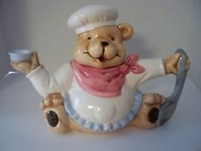 Teddy Bear Chef Teapot Coffe Ceramic Hand Painted Children Animal