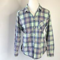 American Eagle outfitters size large boyfriend shirt blue and purple plaid