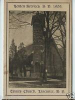 Lancaster NY Trinity Church 1909 Lenten Services Program / Church Photo