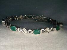 Wonderful Estate 14K White Gold Emerald Diamond Tennis Bracelet