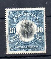Tanganyika 1922 10/- black & blue used Pen Cancel SG87 WS19140