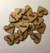 (Pack of 5)wooden laser cut Personalised Hearts Wedding Guestbook Name 3mm Thick