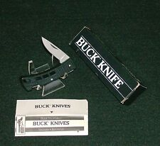 "Buck 425BK Lockback Knife ""BlackTextured Handles"" 1990's W/Packaging,Papers Rare"