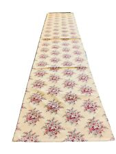 """April Cornell Table Runner Linens Cotton Floral Paisley Red Blue Ivory 87"""""""