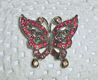 Vintage? AB Rhinestone Butterfly Insect Brooch Pin Enamel Silver Tone Spring A39