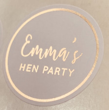 Personalised ROSE GOLD Hen Do Birthday Wedding Party Bag Stickers WHITE Labels