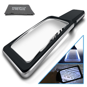 MagniPros Magnifying Glass with [10 Anti Glare & Dimmable LED Lights] 3X+5X Dual