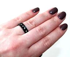 Bisutería Anillo Acero Inoxidable Color: Negro 6mm Alianza 5 Acrylsteine 17-21 #