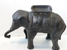 Original 1920's - 30's Old Cast Iron Elephant Bank with Howda 5""