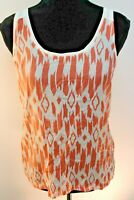 J. Crew Women's Tank Top Sleeveless Silk Blend Pullover Peach Art Deco size XS