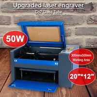 50W Engraving Cutting CO2 Laser Machine 300*500mm Engraver Cutter W. Rotary Dark