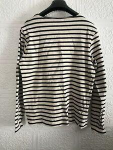 MUJI Breton Black and White Striped Long Sleeved Top Size M UK 12